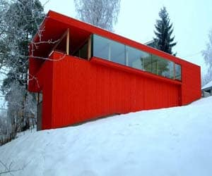 featured posts image for Stunning red house along a river valley