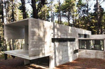 Concrete and glass shelter in Mar Azul forest