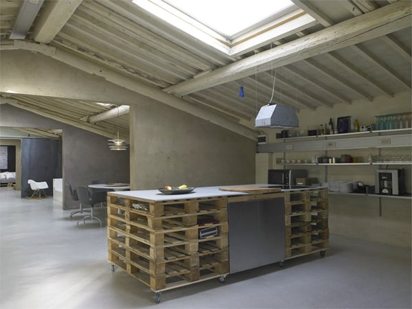 featured posts image for Loft in Italy integrating reclaimed pallets into interiors