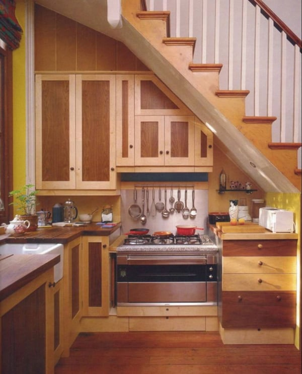 55 amazing space saving kitchens under the stairs for Kitchen designs under stairs