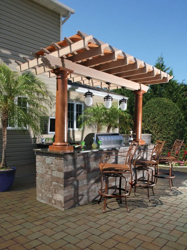 70 awesomely clever ideas for outdoor kitchen designs for Outdoor kitchen pergola ideas