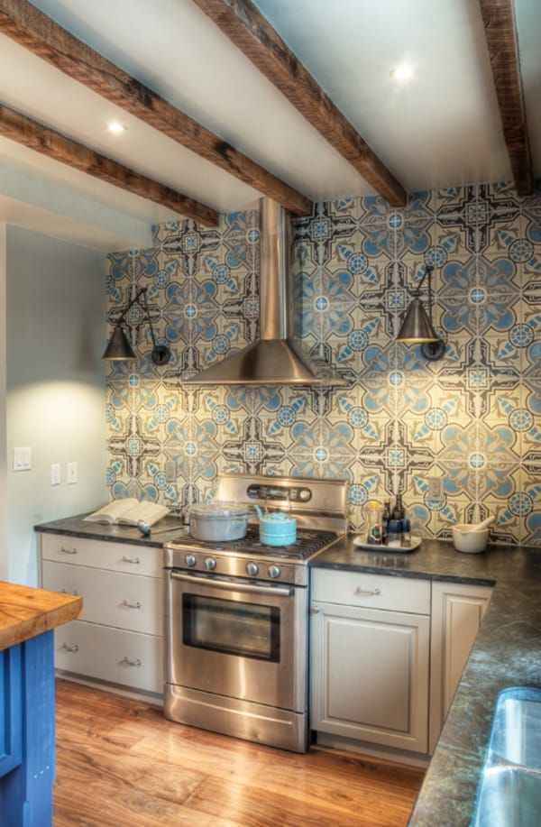 create a decorative kitchen backsplash with cement tiles