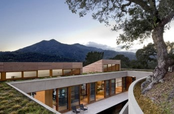 Partially cut into the hillside: Kentfield Hillside Residence