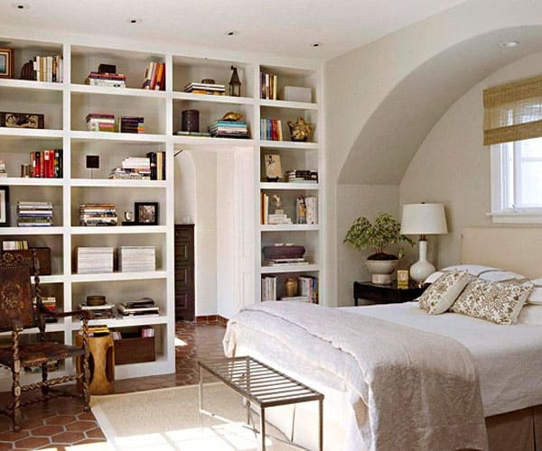 50 relaxing ways to decorate your bedroom with bookshelves for Bedroom bookshelves