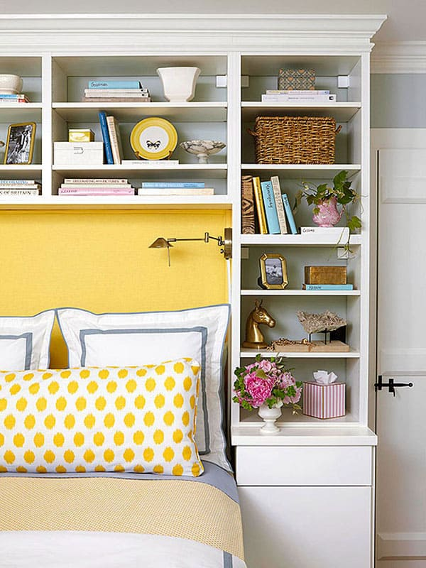 50 Relaxing Ways To Decorate Your Bedroom With Bookshelves: how to store books in a small bedroom