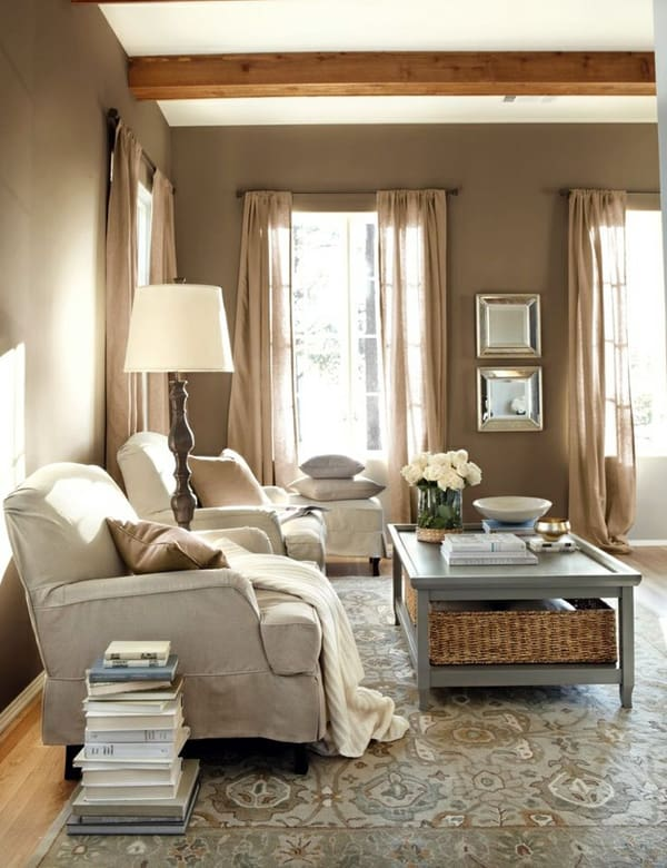 43 cozy and warm color schemes for your living room for Warm grey living room ideas