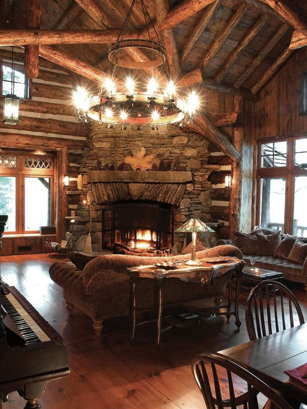 47 extremely cozy and rustic cabin style living rooms for Log cabin chandelier