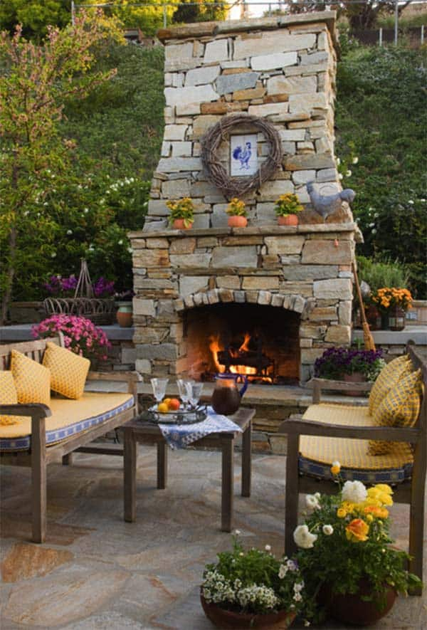 53 most amazing outdoor fireplace designs ever for French country stone fireplace