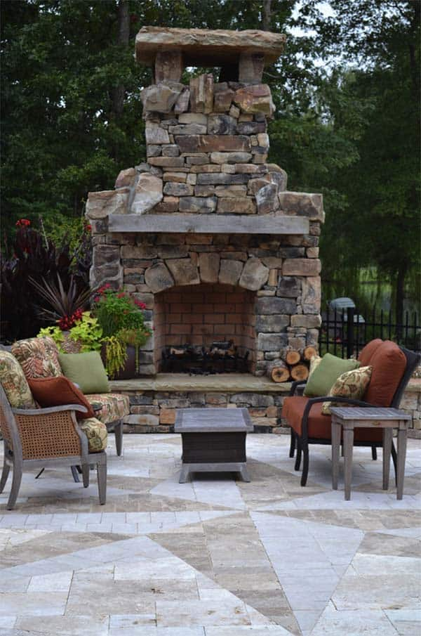 53 most amazing outdoor fireplace designs ever for Outdoor patio fireplace ideas