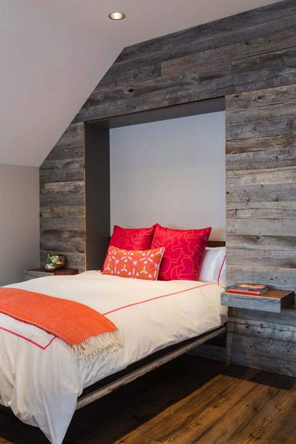 39 jaw dropping wood clad bedroom feature wall ideas for Bedroom feature wall ideas