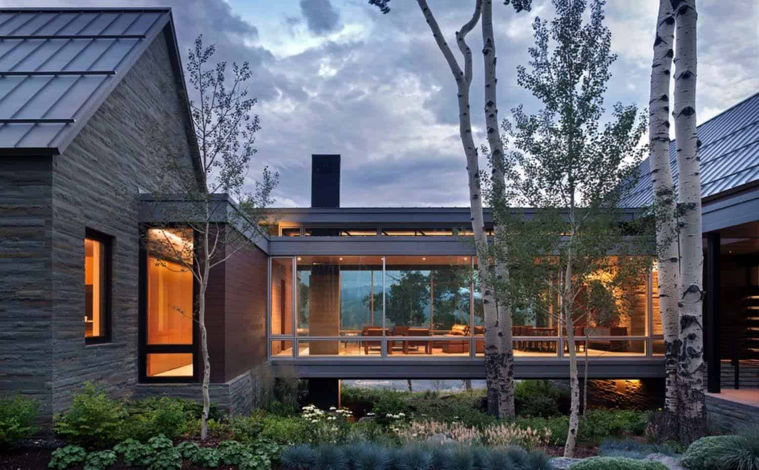 Sleek contemporary dwelling in colorado features a glass for Home architectures
