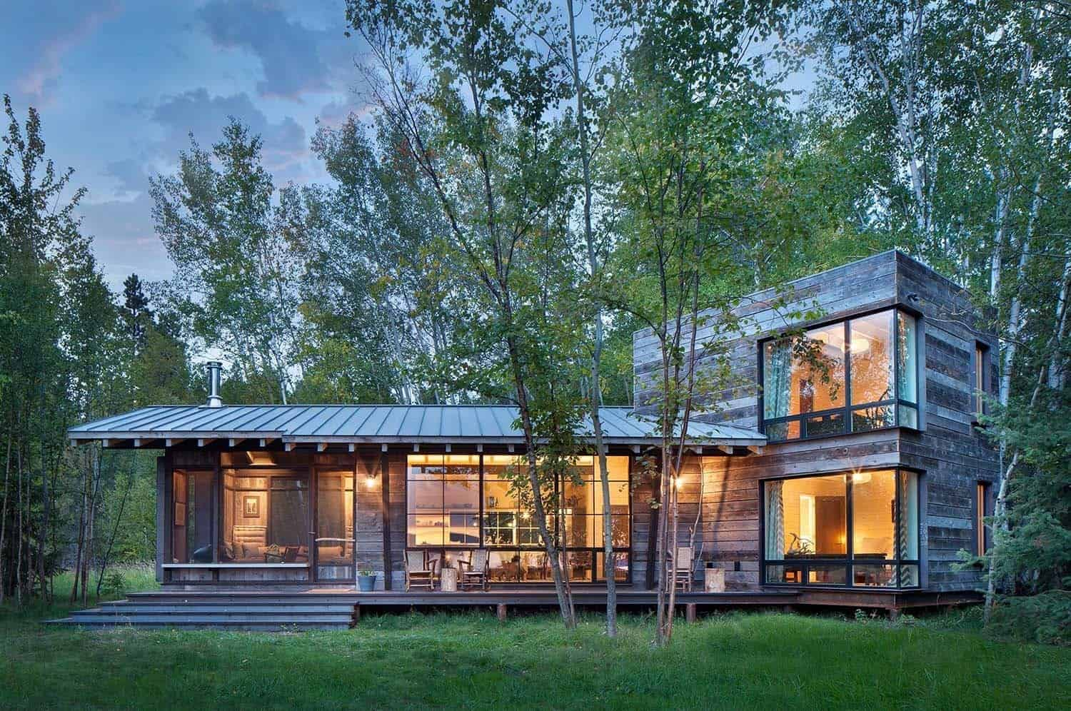Modern rustic cabin in montana offers captivating lakeside views Rustic home architecture
