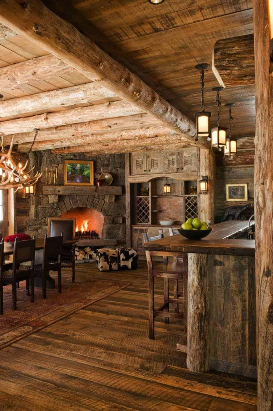 Rustic elegance re defined in a big sky mountain retreat - Interior pictures of small log cabins ...