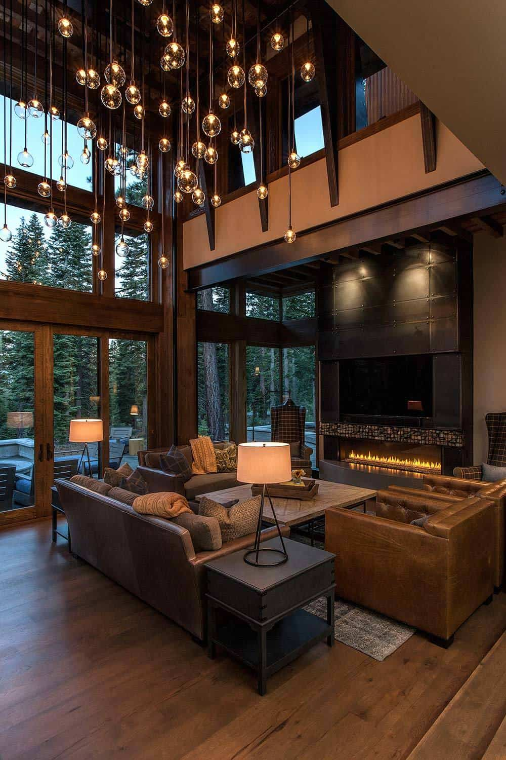 Lake tahoe getaway features contemporary barn aesthetic for Rustic style interior