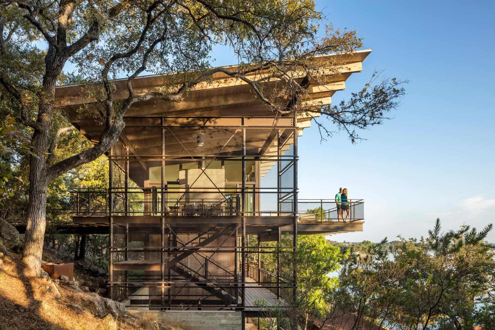 Modern Lake House Retreat Built Cliffside In Texas Blogs