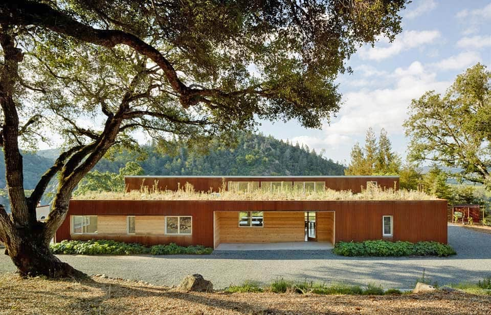 A sustainable vineyard home in Sonoma Country surrounded by rolling hills