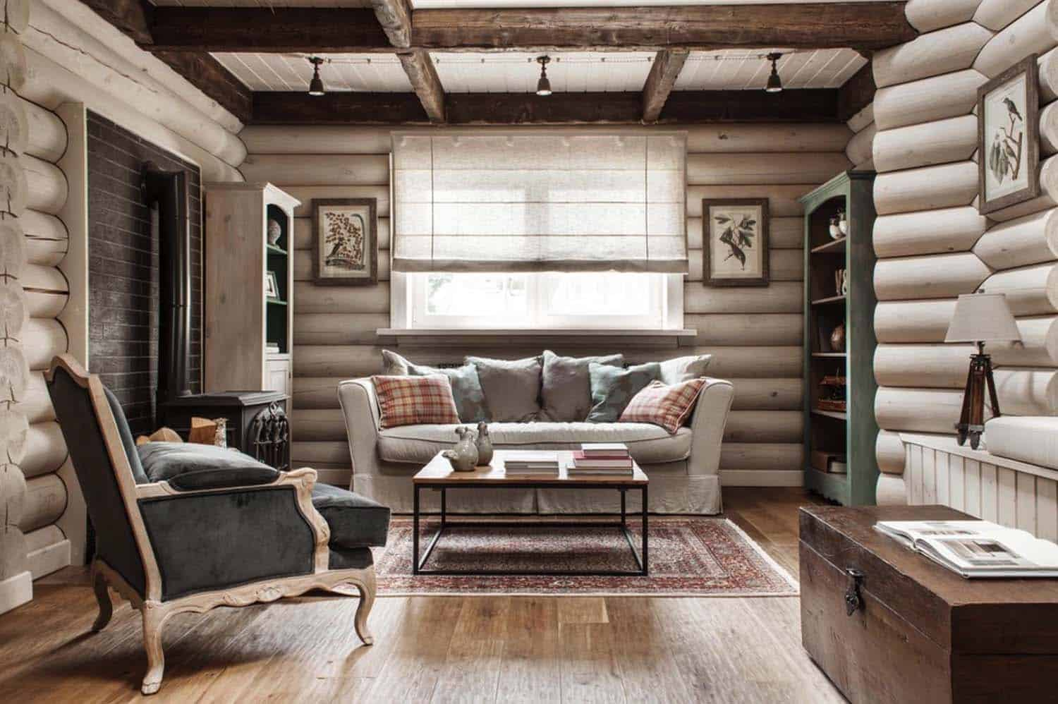 Rustic-chic log cabin style home in the countryside of Moscow