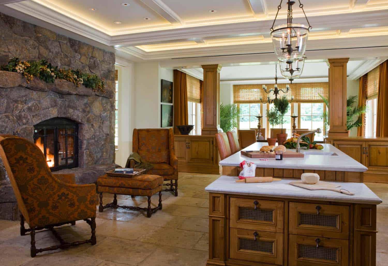 Kitchen Showcasing Cozy Fireplace-01-1 Kindesign