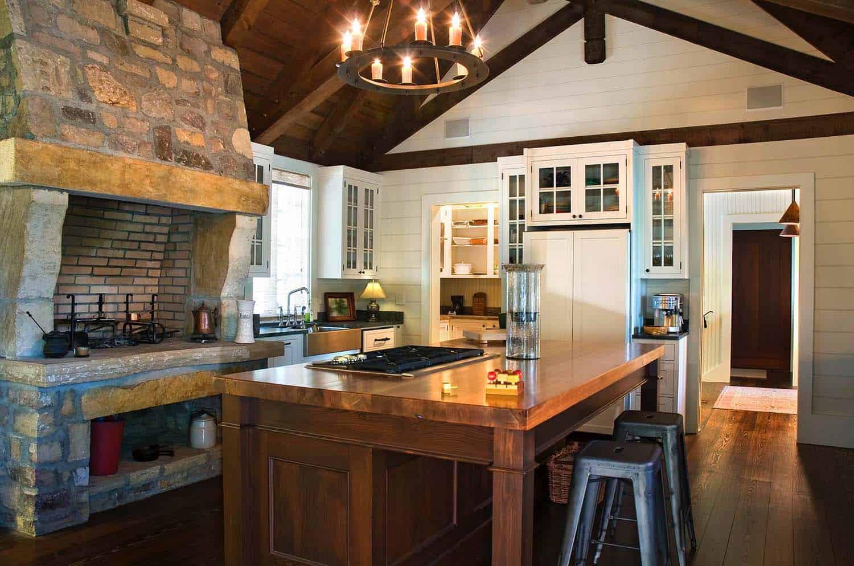 Kitchen Showcasing Cozy Fireplace-05-1 Kindesign