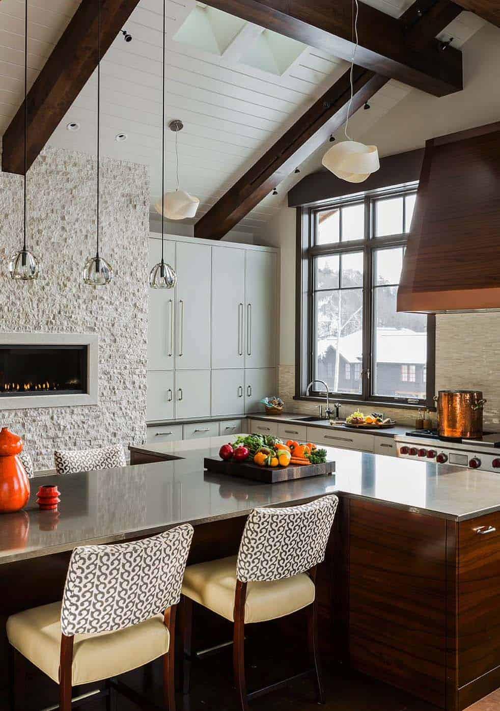 Kitchen Showcasing Cozy Fireplace-06-1 Kindesign
