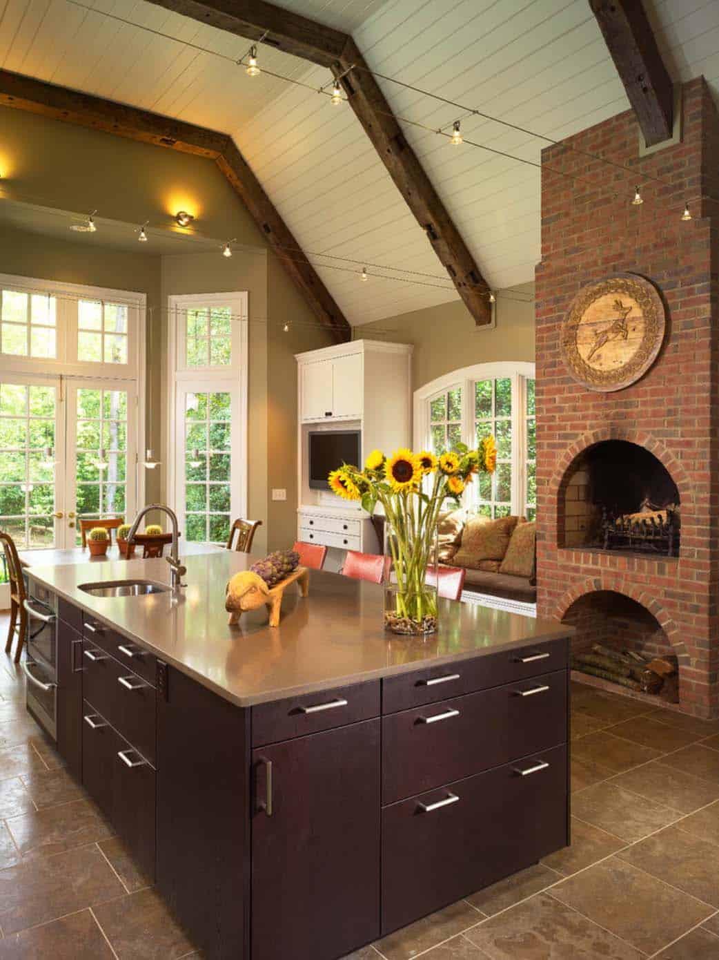 Kitchen Showcasing Cozy Fireplace-10-1 Kindesign