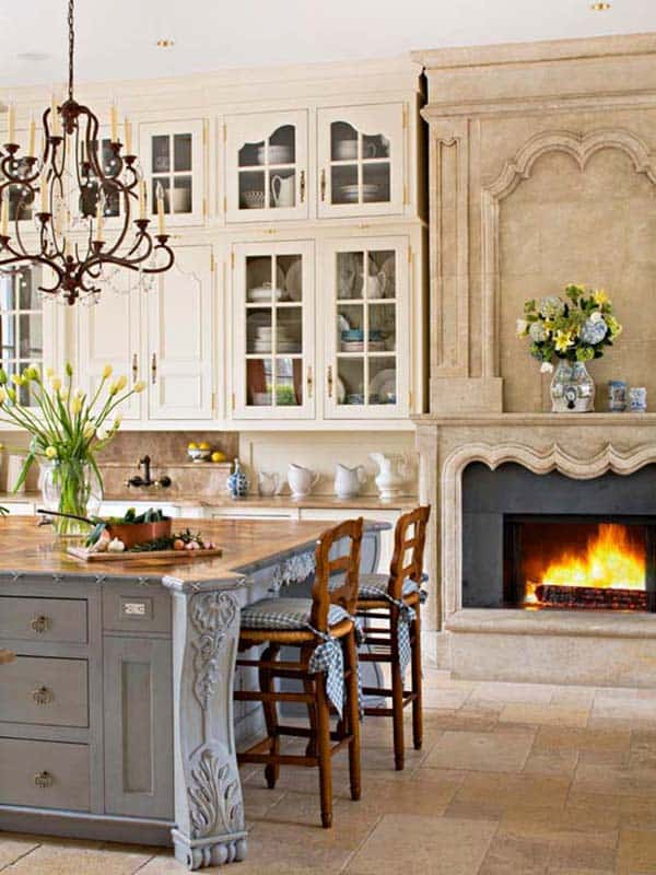 Kitchen Showcasing Cozy Fireplace-11-1 Kindesign