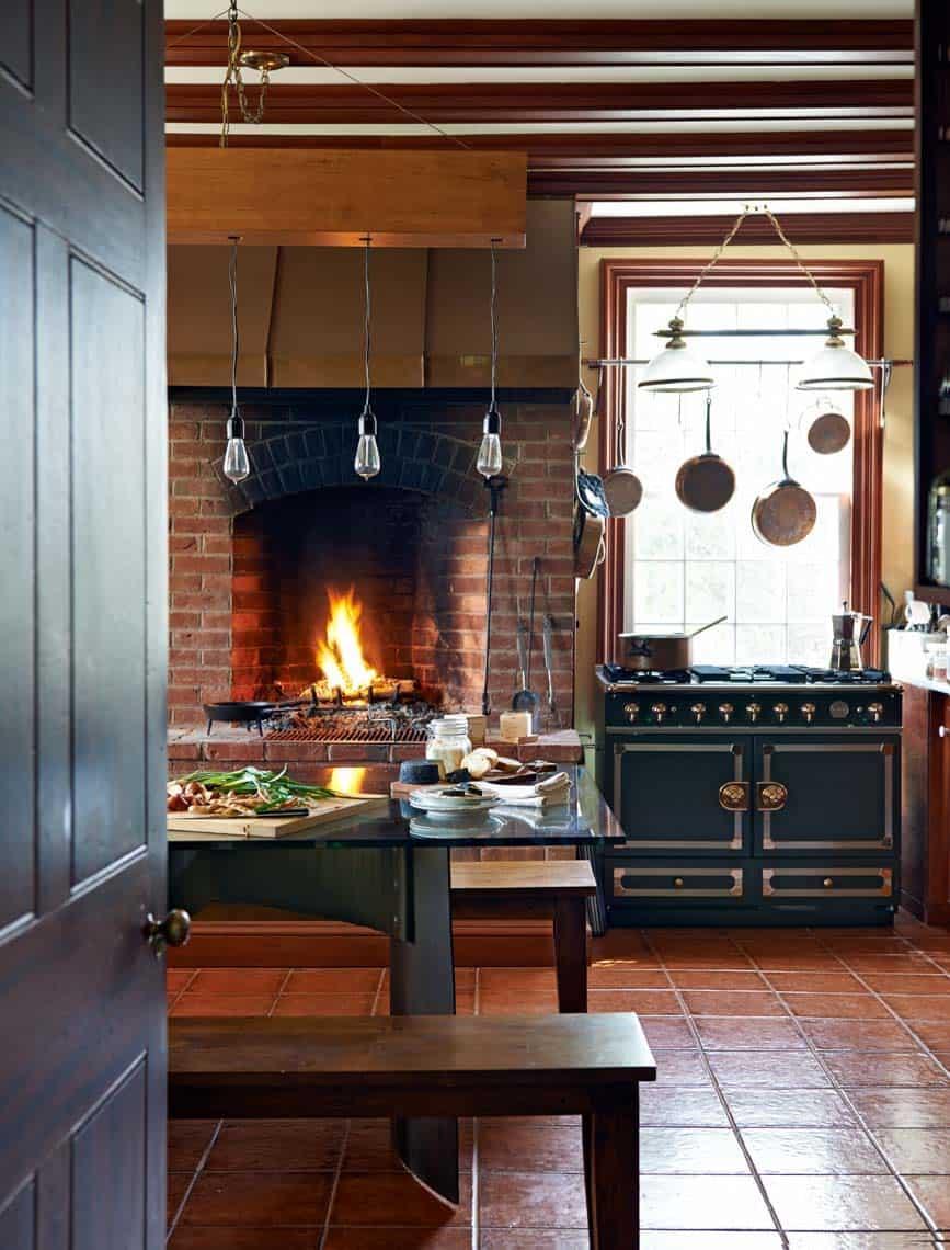 Kitchen Showcasing Cozy Fireplace-12-1 Kindesign