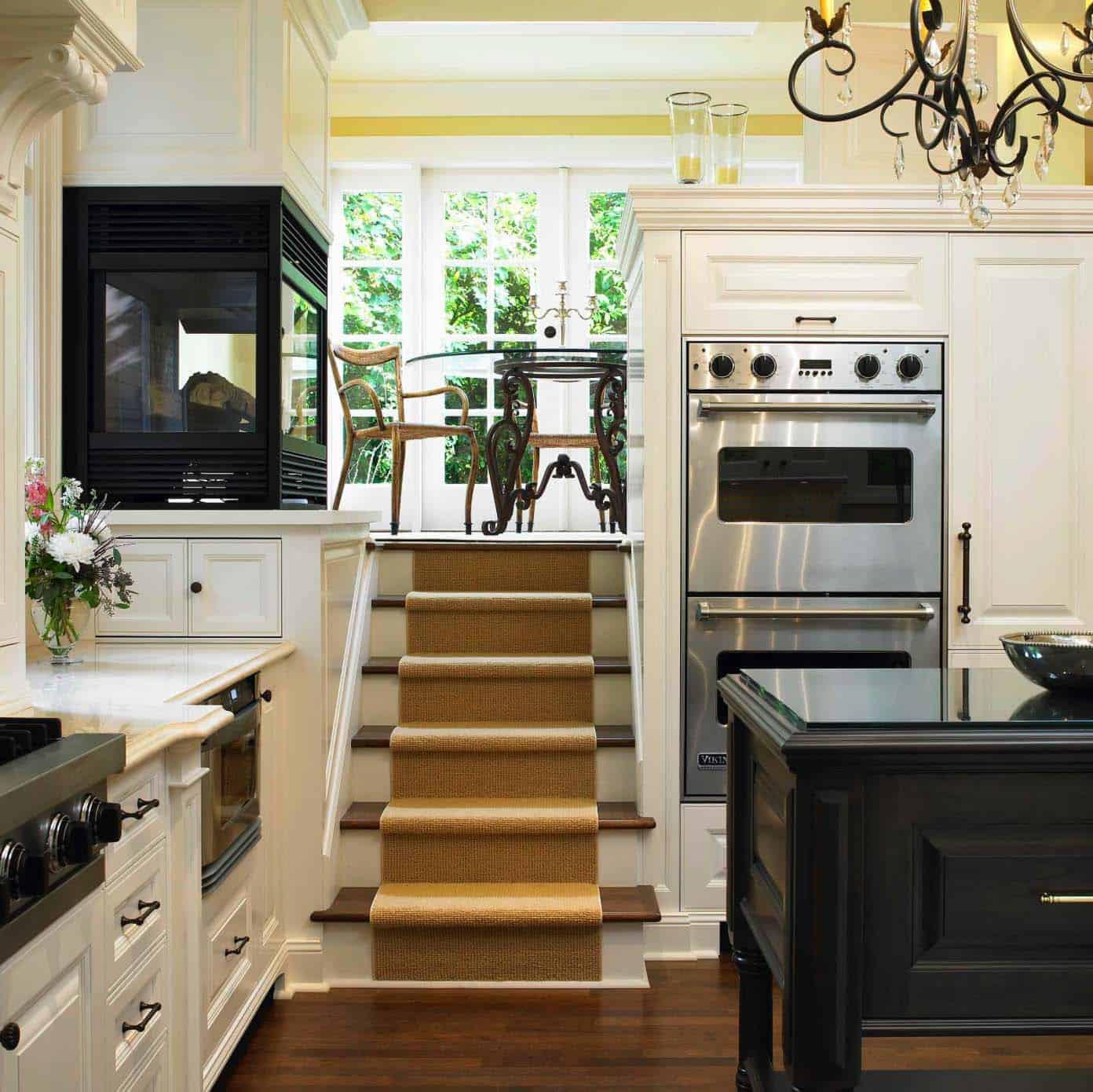 Kitchen Showcasing Cozy Fireplace-14-1 Kindesign