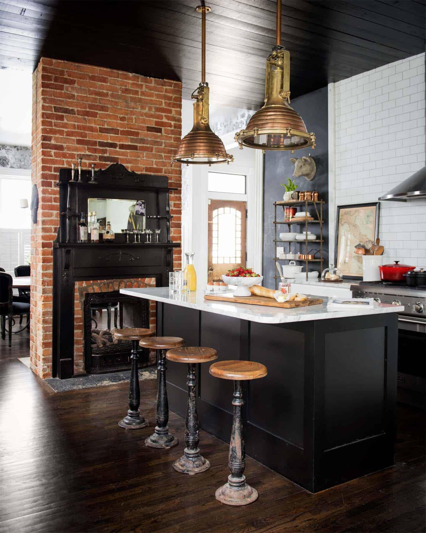 Kitchen Showcasing Cozy Fireplace-15-1 Kindesign