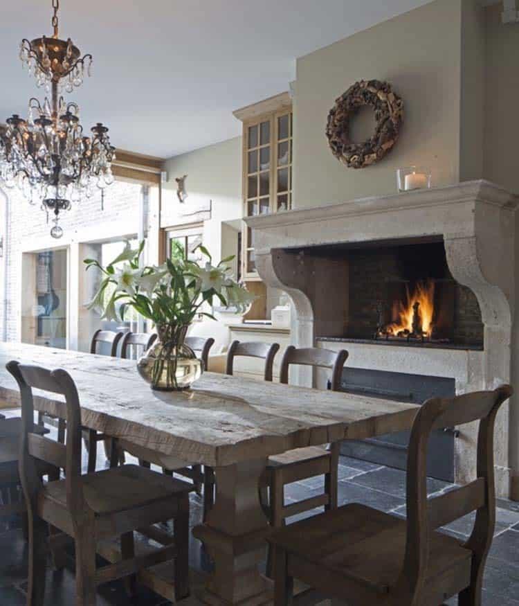 Kitchen Showcasing Cozy Fireplace-16-1 Kindesign