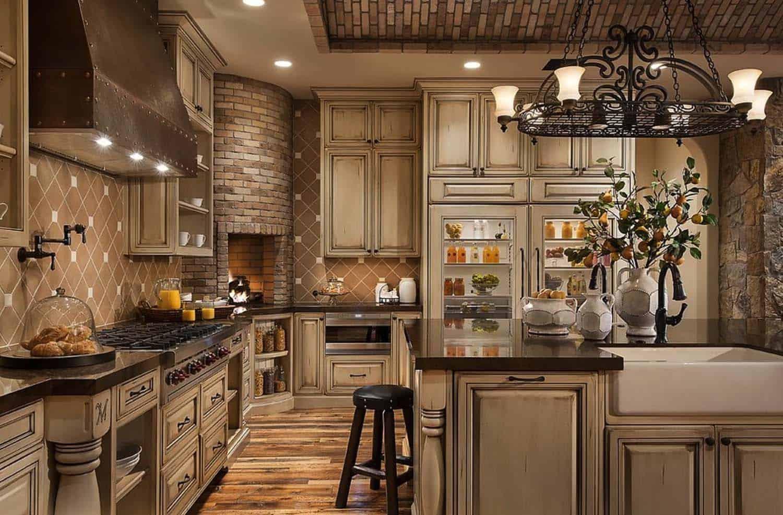 Kitchen Showcasing Cozy Fireplace-17-1 Kindesign