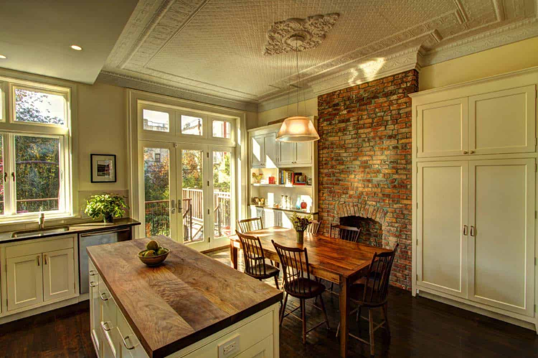 Kitchen Showcasing Cozy Fireplace-18-1 Kindesign