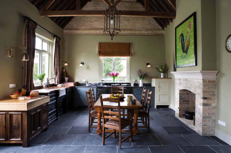 Kitchen Showcasing Cozy Fireplace-19-1 Kindesign