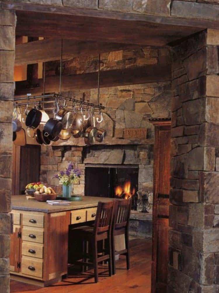 Kitchen Showcasing Cozy Fireplace-20-1 Kindesign