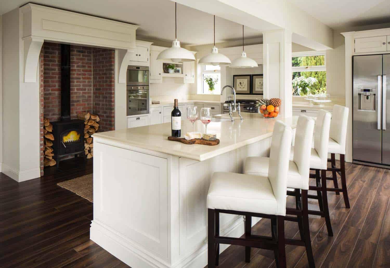 Kitchen Showcasing Cozy Fireplace-21-1 Kindesign