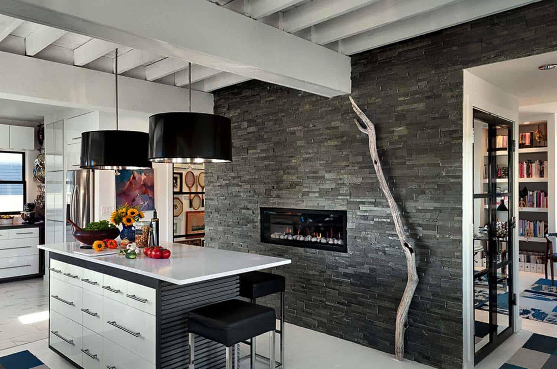Kitchen Showcasing Cozy Fireplace-22-1 Kindesign