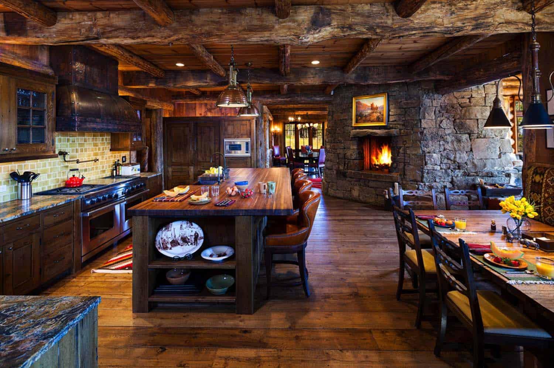 Kitchen Showcasing Cozy Fireplace-23-1 Kindesign