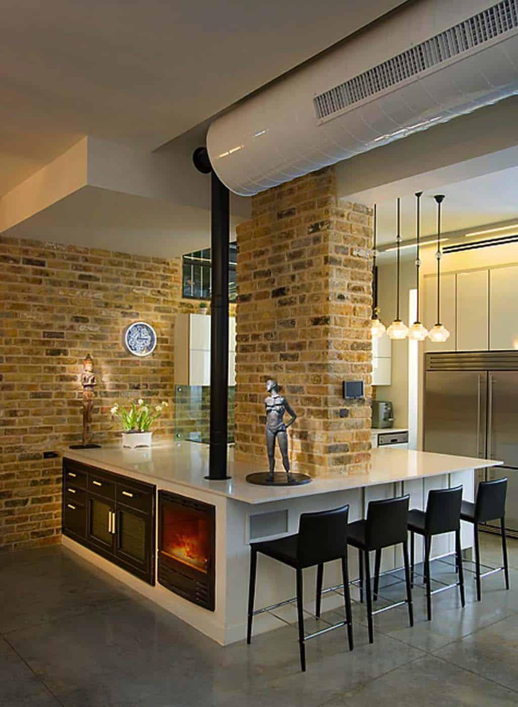 Kitchen Showcasing Cozy Fireplace-25-1 Kindesign