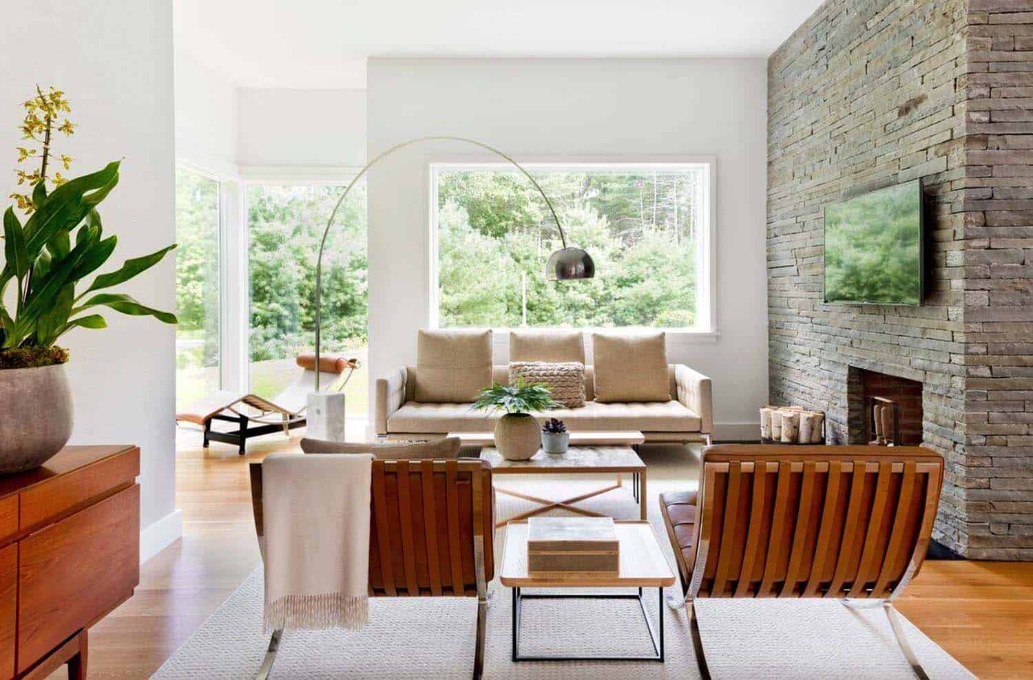 East hampton pad features neutral palette with a masculine - Green living room ideas in east hampton new york ...