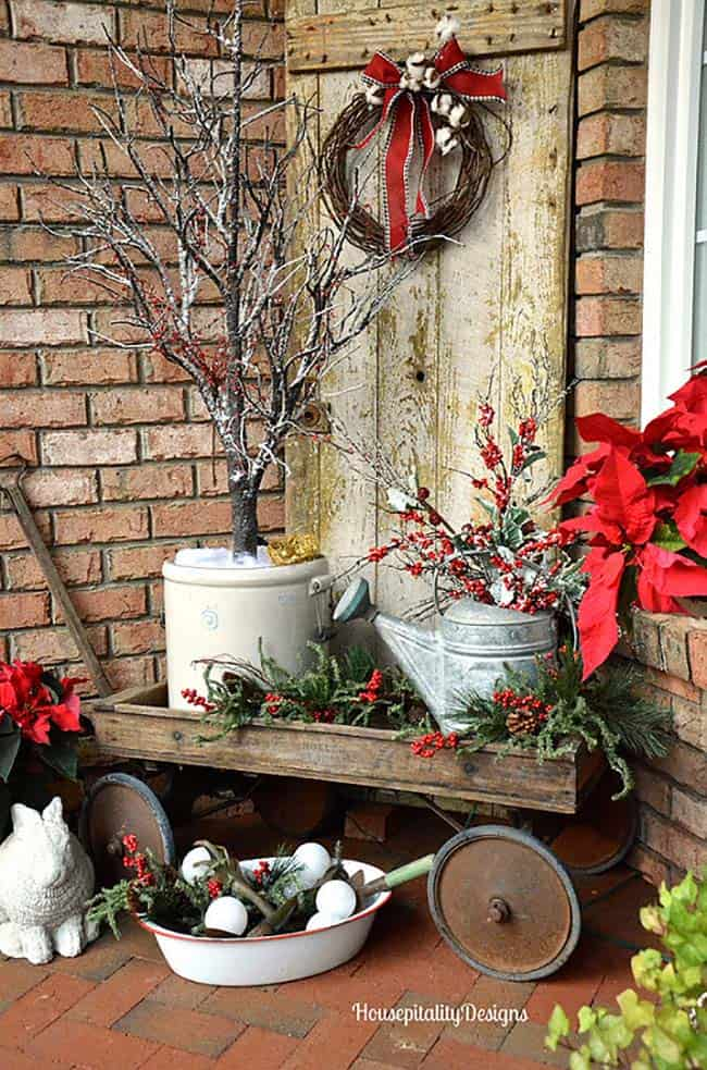 outdoor-christmas-decorated-front-porch-vintage-wagon