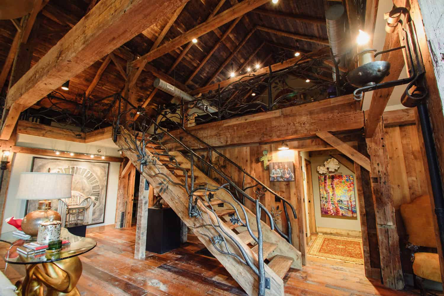 rustic-staircase-to-game-room