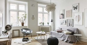 Cozy one bedroom Scandinavian designed flat with open floor plan